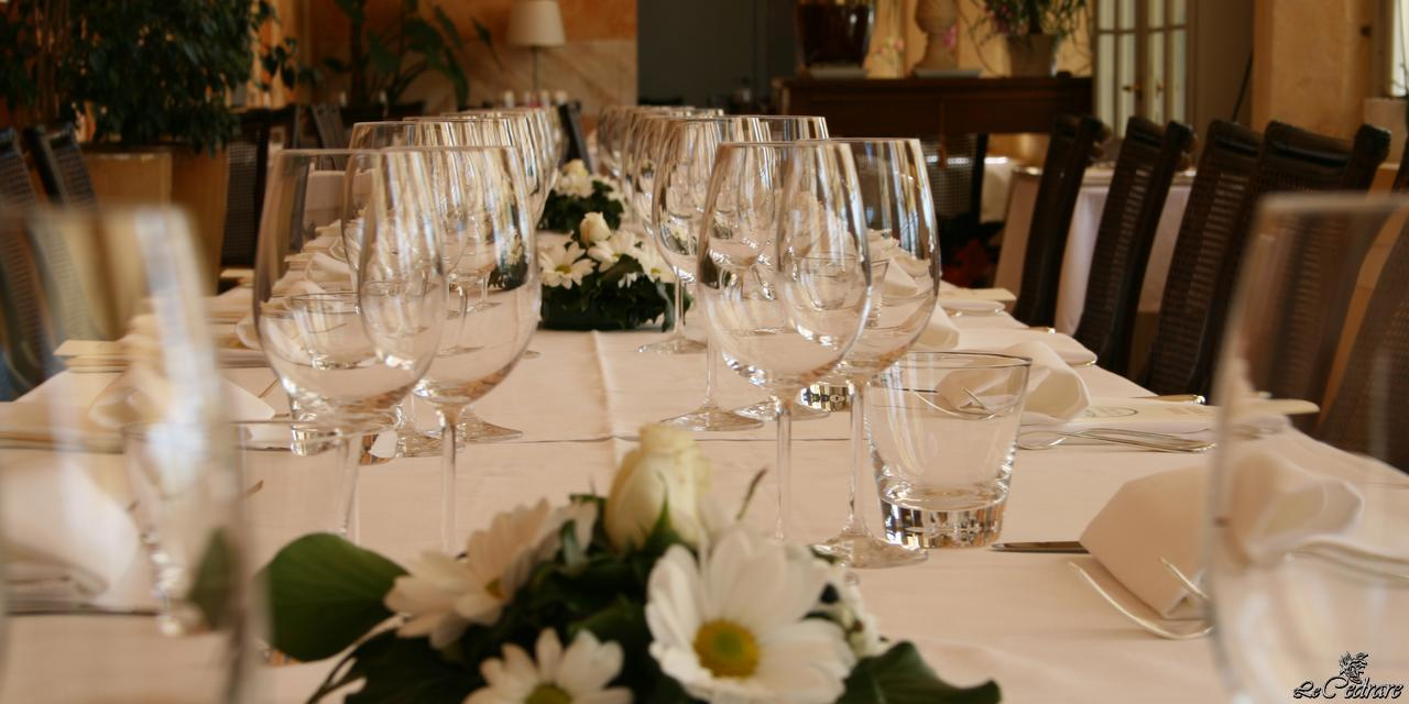 Prepared table in one of the dining rooms for business dinners, special events and groups