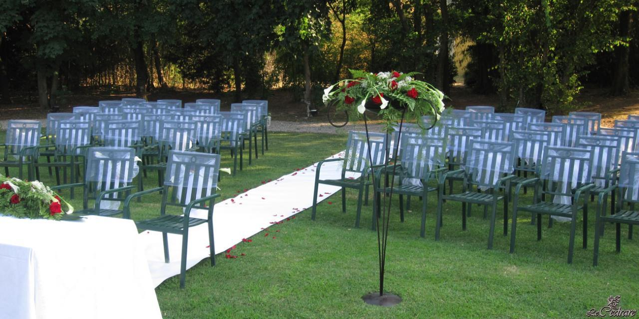 Decorations for outdoor wedding at the restaurant