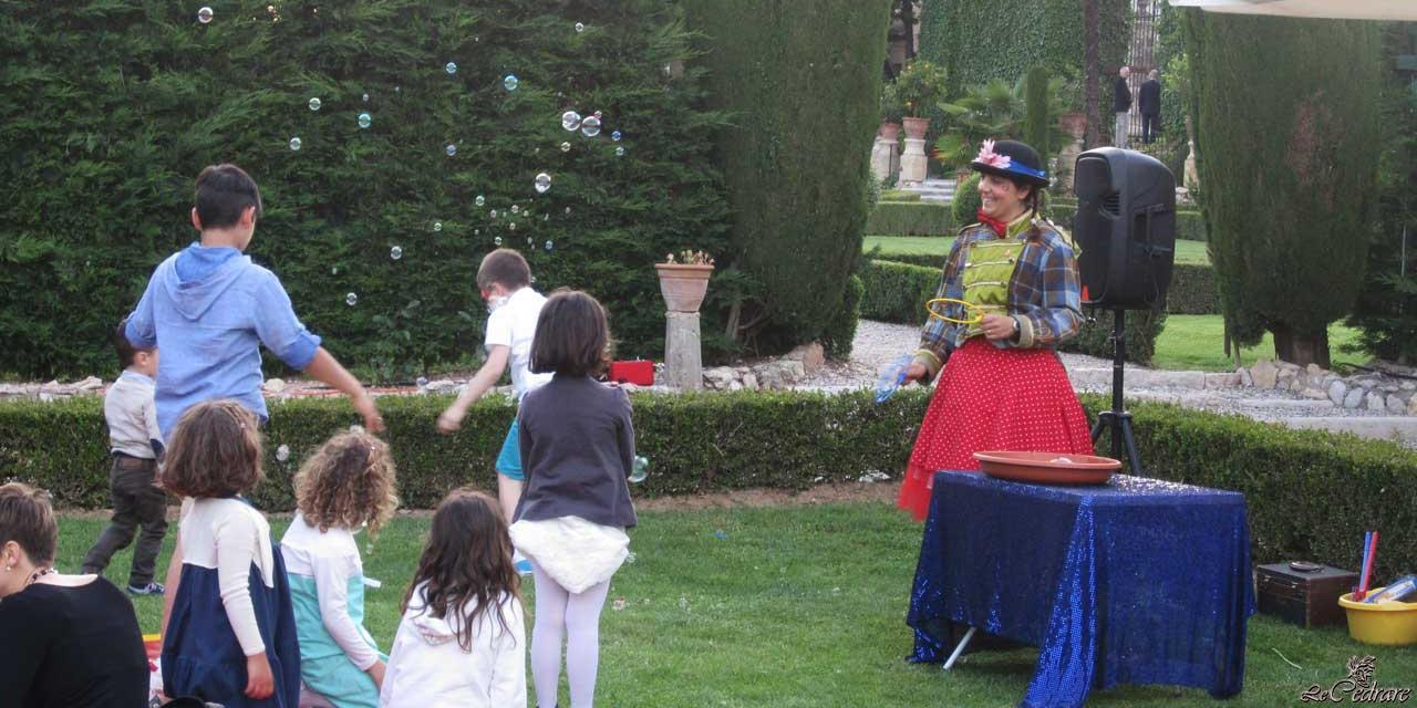 Entertainment in the park of the restaurant on the occasion of a marriage