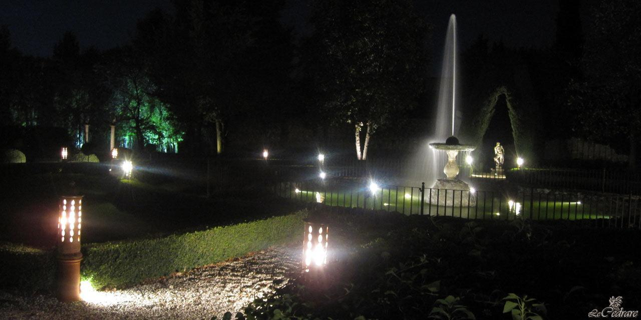 Garden of the restaurant with fountain