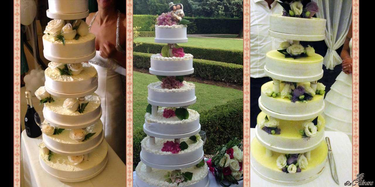 Italian style wedding cakes at the restaurant
