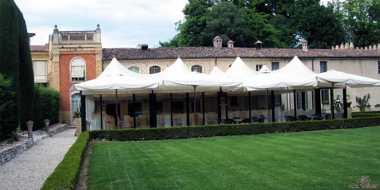 Outside the veranda overlooking the lounge for business dinners at the restaurant Verona Illasi