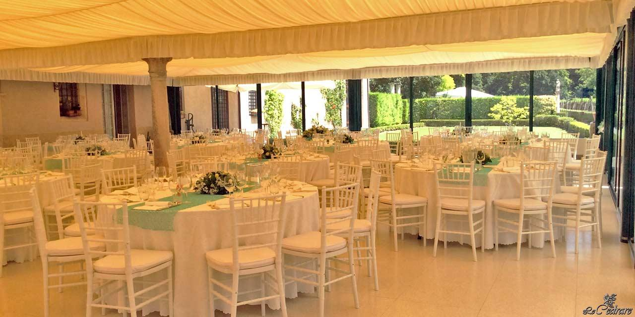 Restaurant with large hall for wedding with many guests