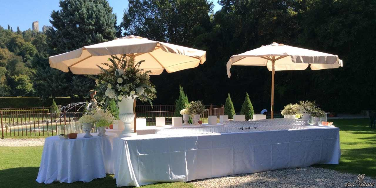 Aperitif preparation for marriage, in the park of the restaurant
