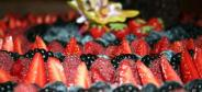 Fresh mixed fruit with chocolate